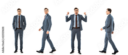 Valokuva collage of adult businessman in suit walking and standing with different emotion
