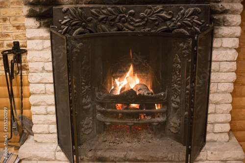 Photo firewood in the fireplace