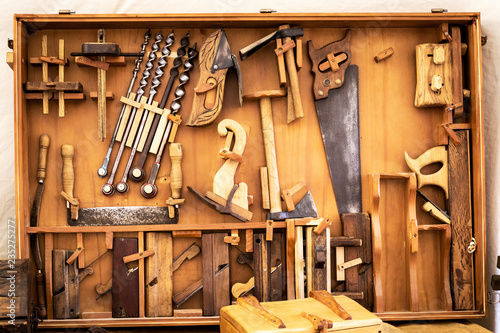 old carpenter's manual tools in an old carpentry shop