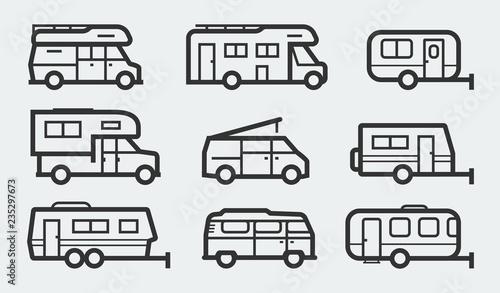 Fotografia Recreational vehicles camper vans icons