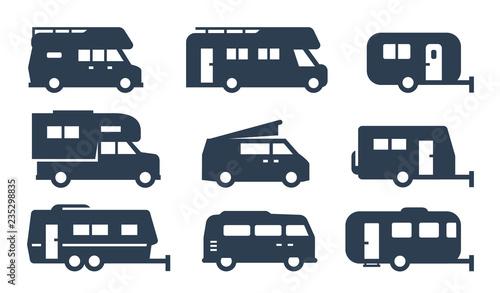 Slika na platnu RV cars, recreational vehicles, camper vans icons