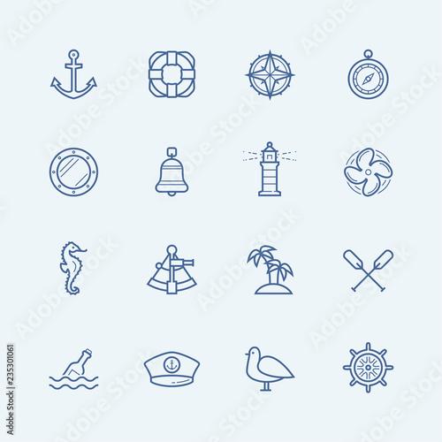 Foto Nautical vector icon set