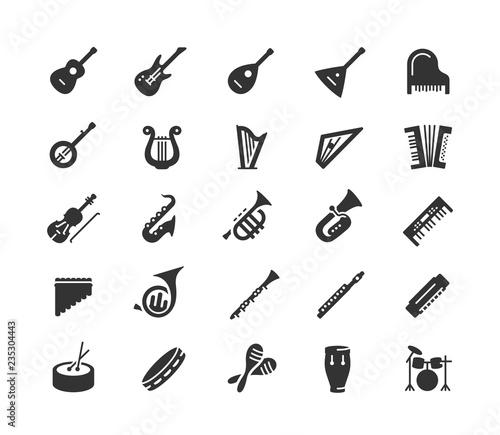 Fotografía Musical instruments vector icon set in glyph style