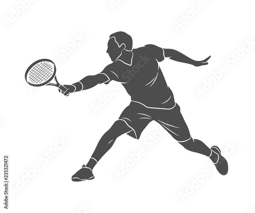 Photo Silhouette tennis player with a racket on a white background