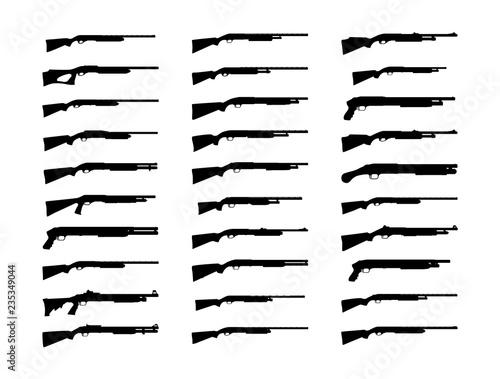 Canvas Print Shotguns silhouette set