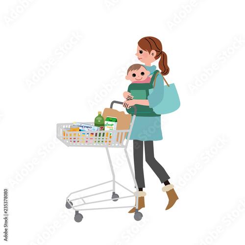 Obraz na plátne ショッピングカートをおす 女性 親子
