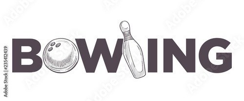 Cuadros en Lienzo Bowling league poster with ball and skittle monochrome sketch outline vector