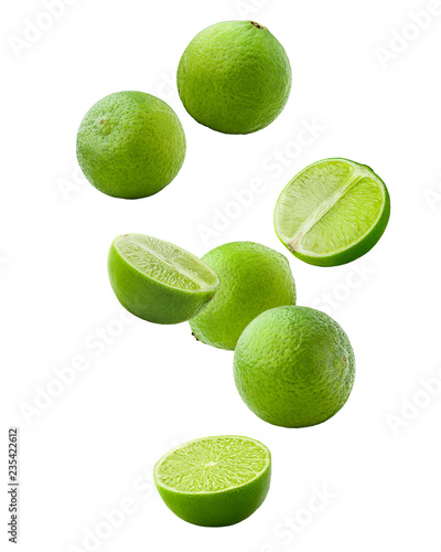 Fotografia Falling lime isolated on white background, clipping path, full depth of field
