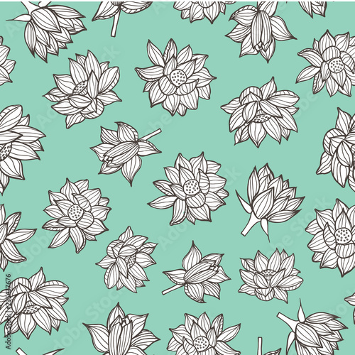 Fototapeta Black and white waterlilies or lotus flowers on pastel seamless pattern background in a modern elegant style