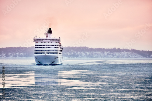 Photo Ferry to Scandinavia. Cruise ship. Nature of the fjord and ice