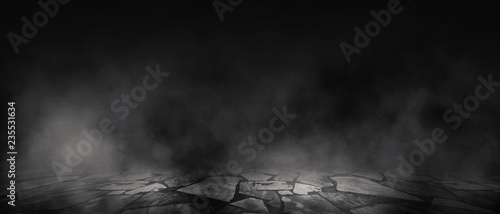 Background of empty room, street, neon light, smoke, fog, asphalt, concrete f...