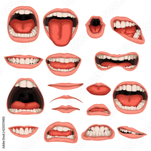 male mouth set Fototapeta
