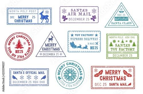 Obraz na płótnie Santa Claus mail, Christmas post stamps