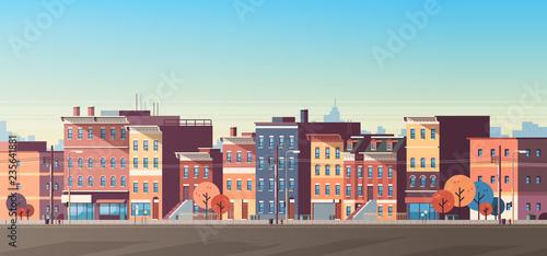 Slika na platnu city building houses view skyline background real estate cute town concept horiz