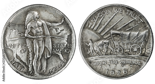 Obraz na plátne 1926 Oregon Trail silver half dollar coin