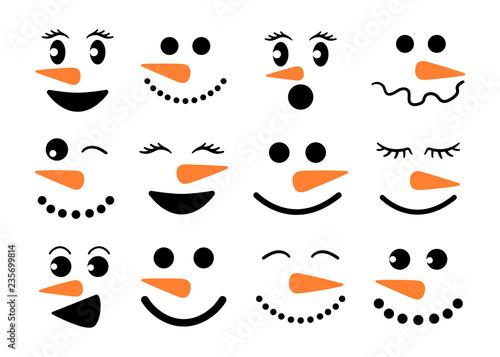 Canvas Print Cute snowman faces - vector collection