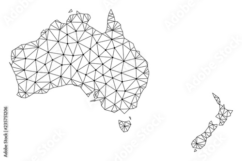 Photo Polygonal mesh map of Australia and New Zealand in black color