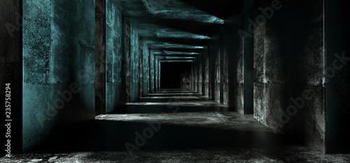 Canvas Print Long Sci Fi Empty Minimalistic Dark Blue Lighted Grunge Concrete Black End Corri