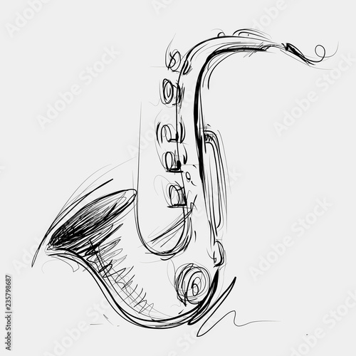 Stampa su Tela Abstract Saxophone Sketch, Sax Jazz Art (Vector Art)