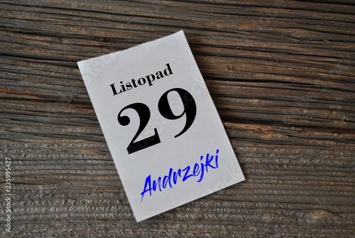 Fototapeta premium 29 listopada - Andrzejki