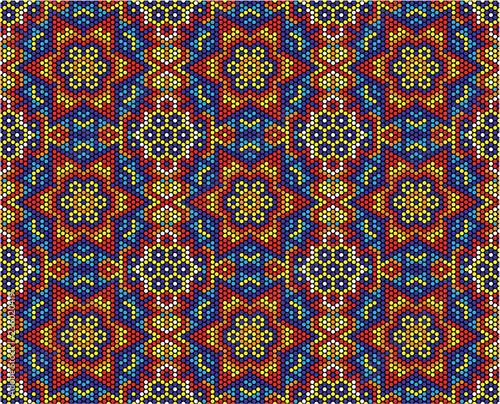 Fototapeta abstract seamless pattern of mexican huichol art style