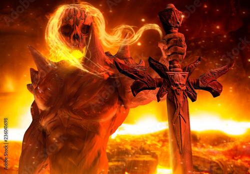 Fotografia Fantasy horror infernal demon prince holding skull sword horizontal view