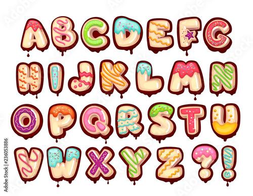 фотография Sweet alphabet. Cartoon kids letters. Donut font