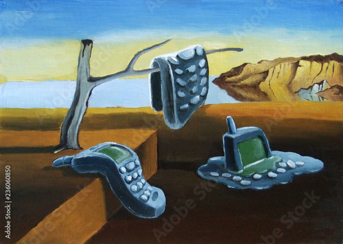 Insufficient memory. Parody, imitation Dali. Curved cell phones. Illustration, oil on cardboard.