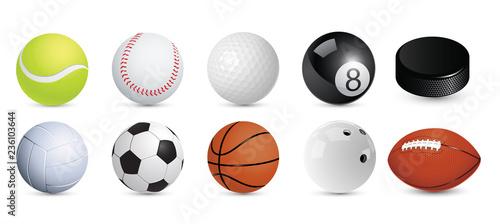 Valokuva A set of sports balls. Vector illustration.