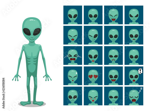 Green Big Eye Extraterrestrial Alien Cartoon Emotion faces Vector Illustration Fototapete
