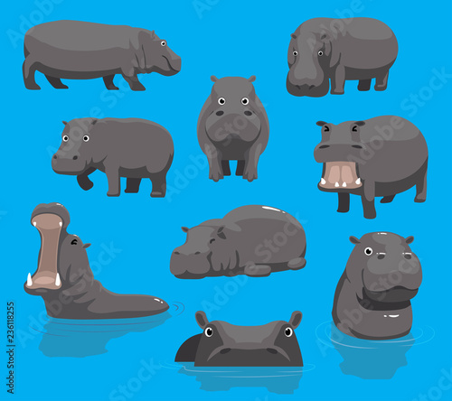 Obraz na plátne Hippopotamus Yawning Cute Cartoon Vector Illustration