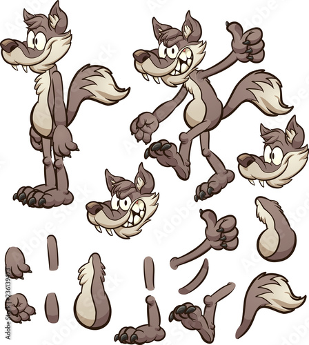 Fotografía Cartoon wolf or coyote character with different body pats
