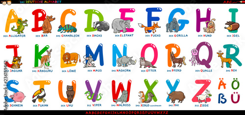 Tela german alphabet with cartoon animals set
