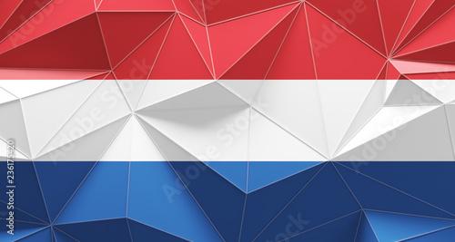 Photo Netherlands polygonal design flag background. 3d illustration