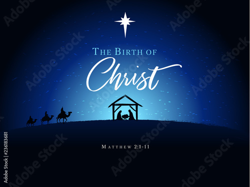 Fototapeta Christmas scene of baby Jesus in the manger with Mary and Joseph in silhouette, surrounded by star and three wise men on camels