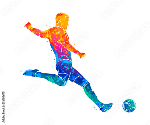 Canvas Print Abstract professional soccer player quick shooting a ball from splash of waterco