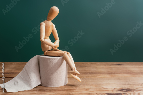 Canvas Print Wooden figure sit on a roll of toilet paper