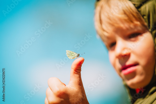 Little boy looking at butterfy, kids learning nature