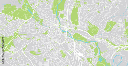 Leinwand Poster Urban vector city map of Derby, England