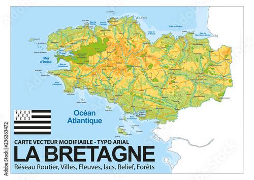 Cuadros en Lienzo CARTE BRETAGNE / Relief, Villes, Réseaux routier, fleuves