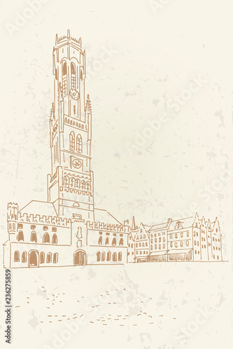 Vector sketch of Belfort van Brugge -  famouse 12th-century belfry Belfort of Bruges and Grote Markt square, Belgium Fototapeta