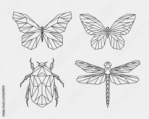 Fototapeta Set of abstract polygon animals