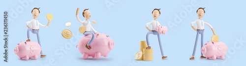 Fotografija cartoon character with coin and money box pig