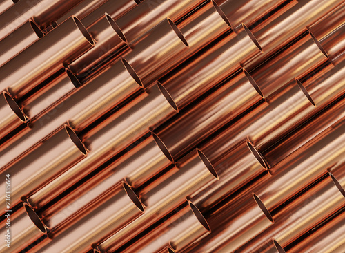Photo Copper pipes, copper rolled metal products.