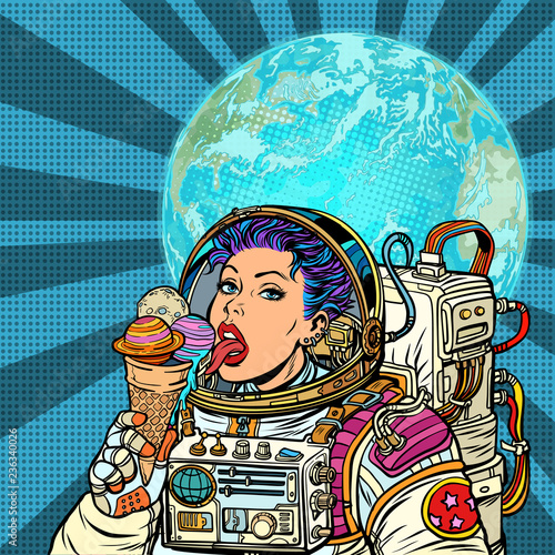 Woman astronaut eats planets of the solar system, like ice cream