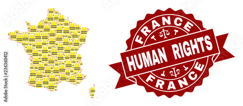 Fotografie, Tablou Human rights collage of yellow vest map of France and seal stamp template