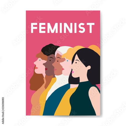 Canvastavla Female feminist standing together vector