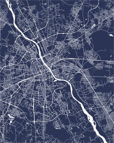 Obraz na plátně Map of the city of Warsaw, Poland
