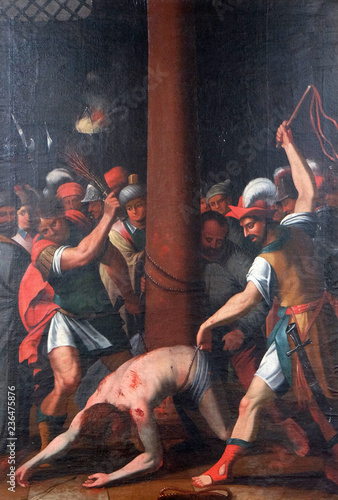 Fotografie, Tablou The Passion of Jesus, painting in the Neumunster Collegiate Church in Wurzburg,