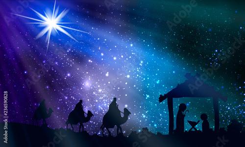 Obraz na plátně Jesus mary and joseph on christmas night